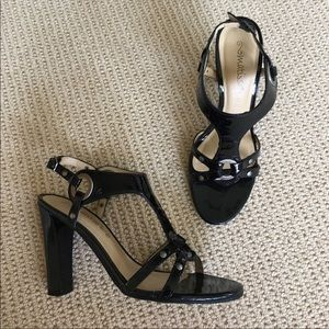 Matisse black leather heels with adjustable strap